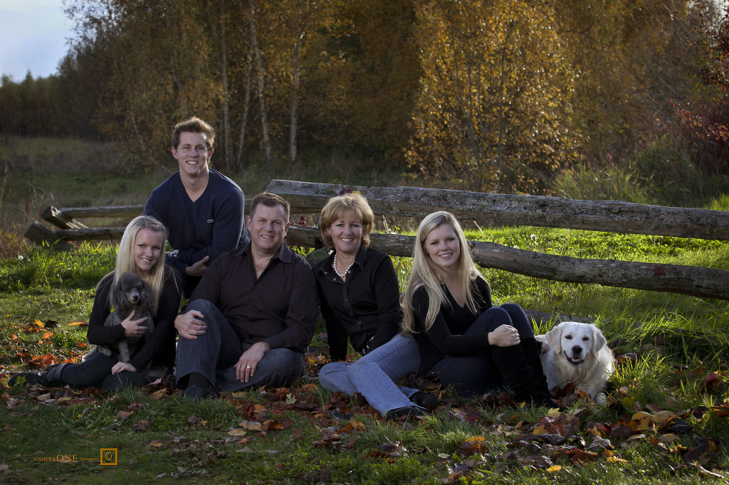 Fall Family portrait with dogs